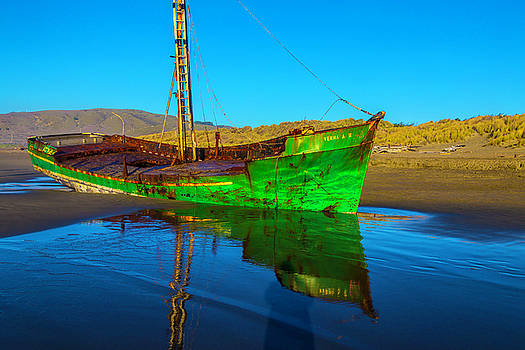 Beached Worn Green Fishing Boat by Garry Gay