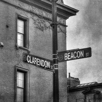 Beacon Street Sign Boston Back Bay Urban Scene in Black and White  by Joann Vitali