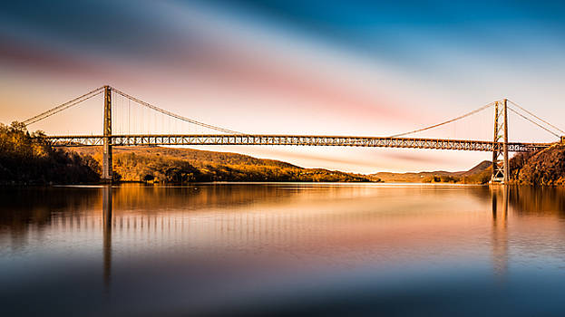 Bear Mountain Bridge after sunset by Mihai Andritoiu