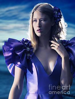 Beautiful blond woman in blue dress beauty portrait by Oleksiy Maksymenko
