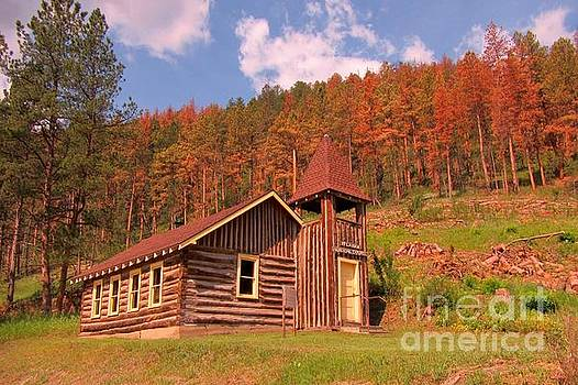 Beautiful Old Log Church in the Black Hills by John Malone