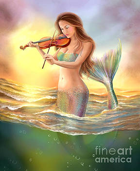 Beautiful woman fantasy mermaid plays on violin on sunset by Alena Lazareva