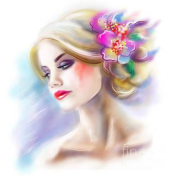 Beautiful Woman Portrait Fashion Illustration by Alena Lazareva