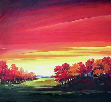Beauty of Autumn - Acrylic Painting by Samiran Sarkar