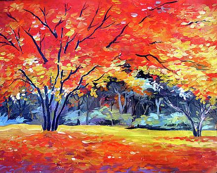 Beauty of Autumn Forest-Acrylic on canvas painting  by Samiran Sarkar