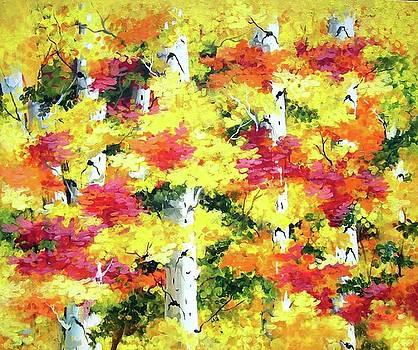 Beauty of Autumn Forest - Acrylic Painting on Canvas by Samiran Sarkar