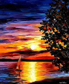 Beauty Of The Night - PALETTE KNIFE Oil Painting On Canvas By Leonid Afremov by Leonid Afremov