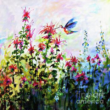 Ginette Callaway - Bee balm and Hummingbird in Garden