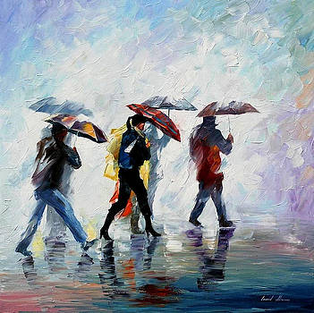 Behind The Fog - PALETTE KNIFE Oil Painting On Canvas By Leonid Afremov by Leonid Afremov