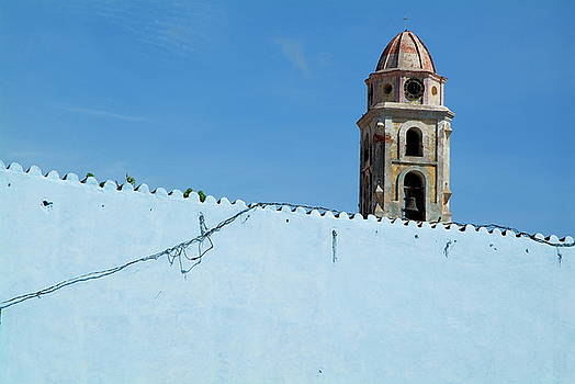 Sami Sarkis - Bell tower of the Convent of San Francisco behind a blue wall