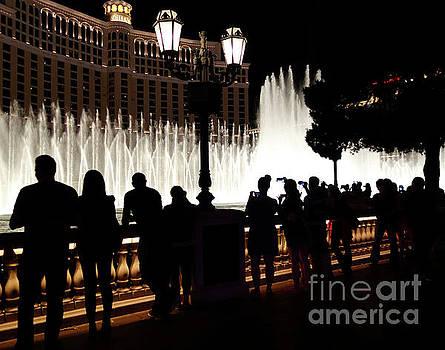 Bellagio fountain silhouettes  by Maria Janicki