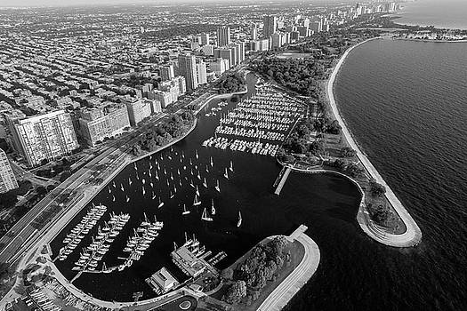 Belmont Harbor Chicago B W by Steve Gadomski