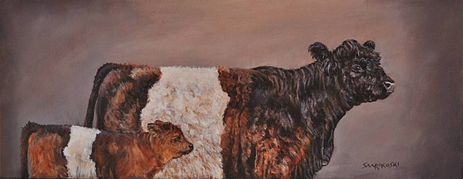 Belted Galloway Cow and Calf Study by Louise Charles-Saarikoski