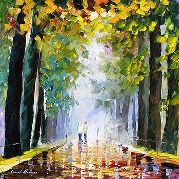 Best Friends Walking - PALETTE KNIFE Oil Painting On Canvas By Leonid Afremov by Leonid Afremov