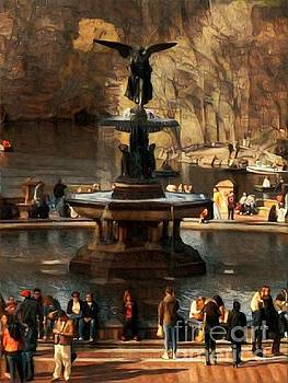 Bethesda Fountain in Autumn - Central Park New York by Miriam Danar