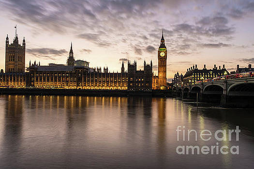 Big Ben and Parliament Dusk Reflection by Mike Reid