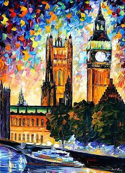 Big Ben London 2 - PALETTE KNIFE Oil Painting On Canvas By Leonid Afremov by Leonid Afremov