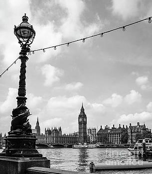 Big Ben with Sturgeon Lamp Black and White by Marina McLain