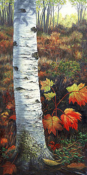 Birch and Leaves by Elaine Farmer
