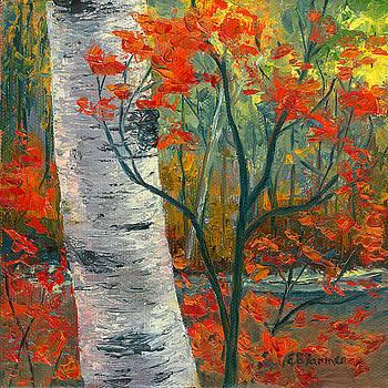 Birch in Red by Elaine Farmer