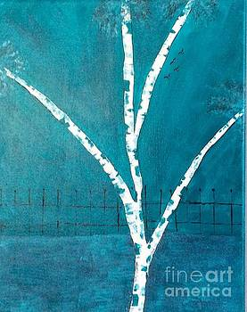 Birch in Turquoise 2 by Nancy Pace