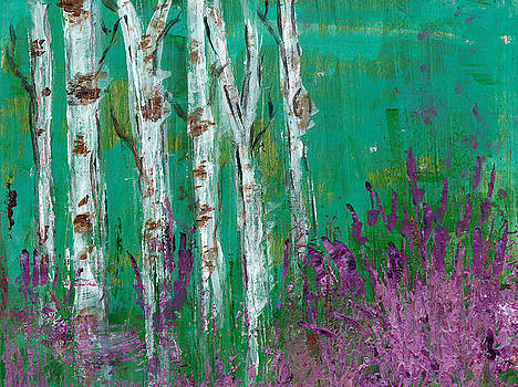 Birch Trees in a Lavender Field by Kristen Fagan