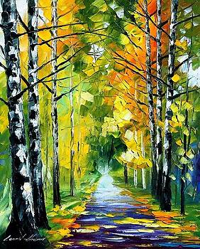 Birches - PALETTE KNIFE Oil Painting On Canvas By Leonid Afremov by Leonid Afremov