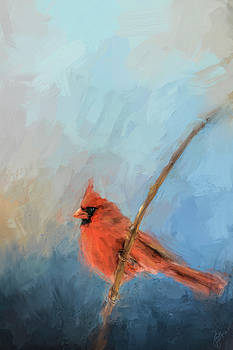Jai Johnson - Bird On A Branch Cardinal Art