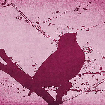 Bird on a Branch in Pink Square by Emily Kay