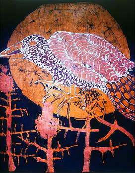 Bird on Thistle at Sundown by Carol Law Conklin