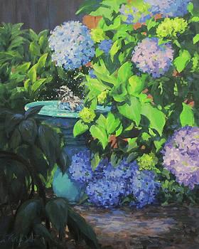 Birdbath and Blossoms by Karen Ilari