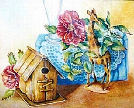 Birdhouse Still Life by Linda Shackelford