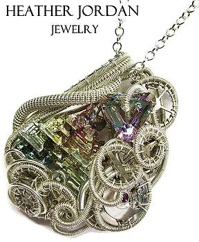 Bismuth and Swarovski Crystal Steampunk Pendant in Sterling Silver - STMBSM42 by Heather Jordan