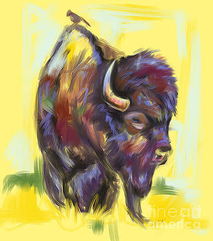 Bison and bird by Go Van Kampen