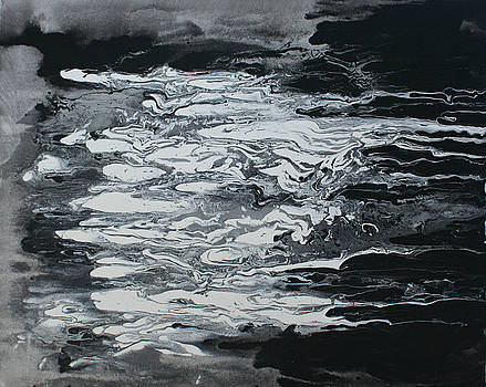 Black And White Fluid Painting by Alma Yamazaki