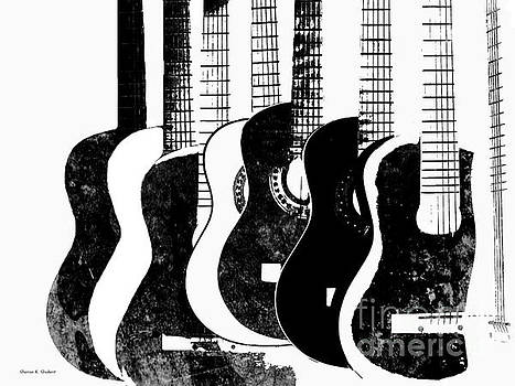 Black And White Guitars by Sharon K Shubert