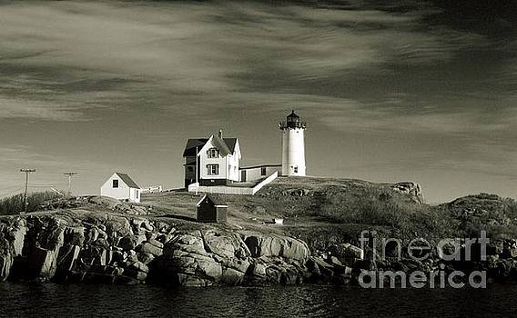 Black and White Lighthouse by Eunice Miller