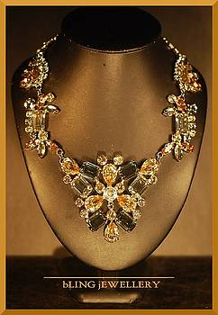 Black Diamond and Golden Shadow Pendant Necklace by Janine Antulov
