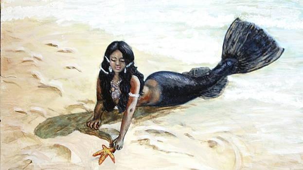 Black mermaid saving animals by Maria Elena Gonzalez