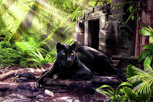 Black Panther Custodian of Ancient Temple Ruins  by Regina Femrite