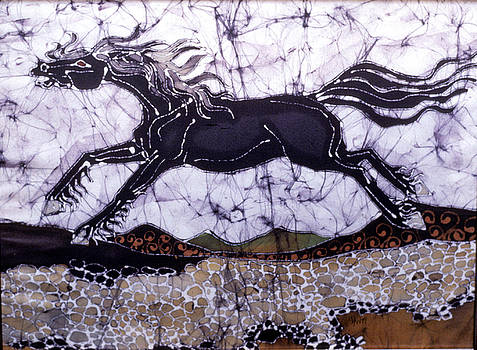 Black Stallion Gallops Over Stones by Carol  Law Conklin