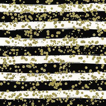 Black Stripes Gold Confetti by Ps