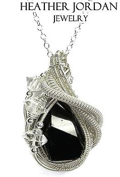 Black Tourmaline and Sterling Silver Wire-Wrapped Pendant with Herkimer Diamonds - BTRMPSS3 by Heather Jordan