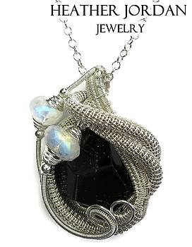Black Tourmaline and Sterling Silver Wire-Wrapped Pendant with Rainbow Moonstone - BTRMPSS4 by Heather Jordan