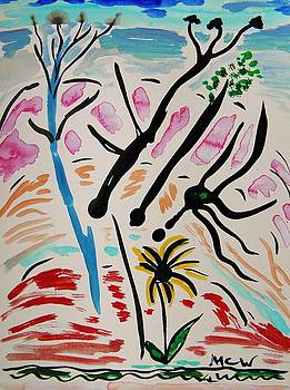 Blooming Trees,  Red Hills and Flower by Mary Carol Williams