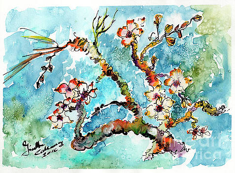 Ginette Callaway - Blossoming Almond Tree Watercolor