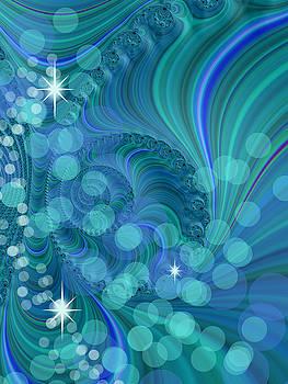 Blu Green Fractal With Bokeh by Cindy Boyd