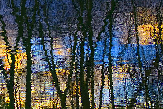 Blue and Yellow Abstract Reflections by Pixie Copley