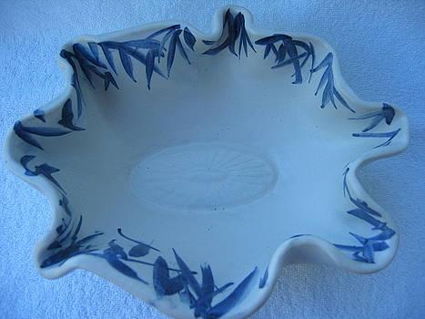 Blue bamboo bowl by Julia Van Dine