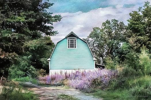 Blue Barn Dreamy Picturesque Landscape Rural Countryside by Melissa Bittinger